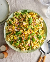 Corn and avocado pasta salad with cilantro and lime