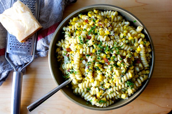 Corn bacon and Parmesan pasta