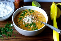 Corn chowder with chile, lime and cotija