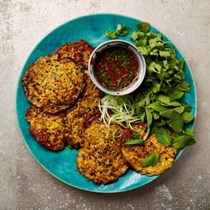 Corn, sesame and coconut fritters