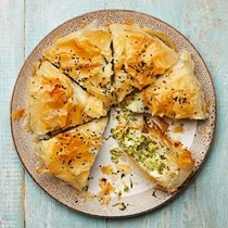 Courgette and herb filo pie with feta and cheddar