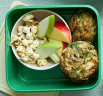 Courgette, olive and halloumi muffins