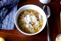 Cozy cabbage and farro soup