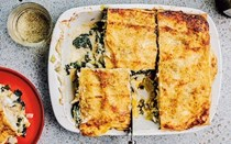 Crab, haddock and leek lasagne