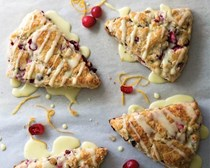 Cranberry pistachio scones with orange glaze