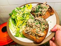 Creamed mushroom toast with little gem salad