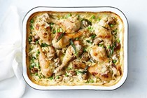 Creamy chicken and risoni tray bake