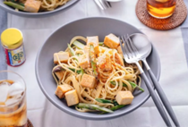 Creamy miso pasta with tofu and asparagus