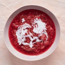 Creamy strawberry and rhubarb soup