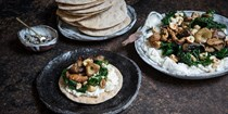 Crispbreads topped with ricotta, cavolo nero, wild mushrooms and roasted hazelnuts