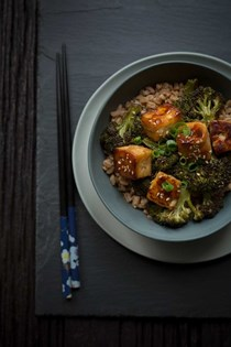 Crispy baked tofu with broccoli