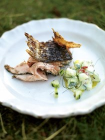 Crispy barbecued side of salmon with cucumber yogurt