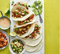 Crispy chicken & pineapple tacos