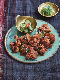 Crispy chicken, marmite and soy sauce with sweet cucumber and wakame pickle - Marmite chicken