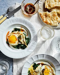 Crispy fried eggs with yogurt, greens, and smoked herb butter