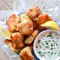 Crispy oven-fried fish bites with homemade tartar sauce