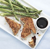 Crispy tofu with sesame asparagus and hoisin dipping sauce