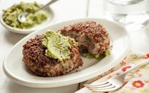 Crispy turkey patties with artichoke chimichurri