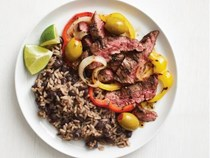 Cuban steak with black beans and rice