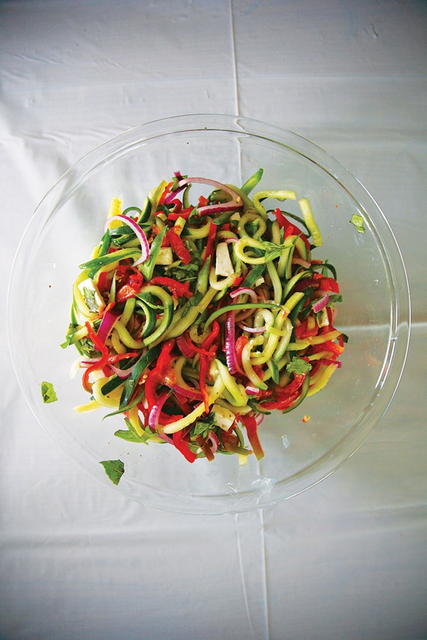 Cucumber pepper slaw