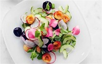 Cucumber, radishes & cherries with rose petals