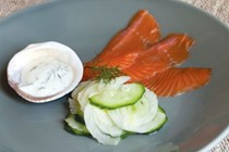 Cucumber salad with salmon and lemon chive yoghurt
