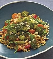 Curried broccoli and warm Israeli couscous salad