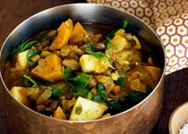 Curried lentil, squash, and apple stew