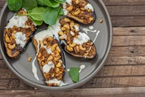 Curry stuffed eggplant with yogurt