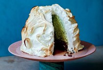 Dark chocolate and fresh mint baked Alaska