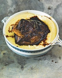 Darkly braised lamb shoulder