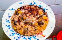 Delicata squash and mushroom risotto with Parmesan and saba