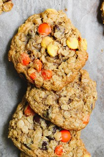Double peanut chocolate chip monster cookies