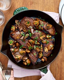 Easy balsamic glazed steak tips and mushrooms