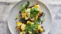 Egg salad tartines with mixed herbs