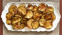 Eggplant chips with honey and sea salt