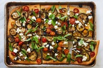 Eggplant focaccia with ricotta and olives