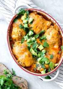 Enchilada chicken roll-ups