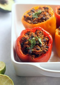 Enchilada stuffed peppers with avocado cream
