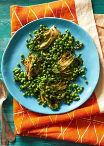 English peas with grilled little gems, green garlic and mint