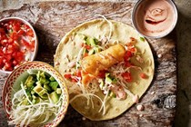 Ensenada fish tacos with chilli and coriander