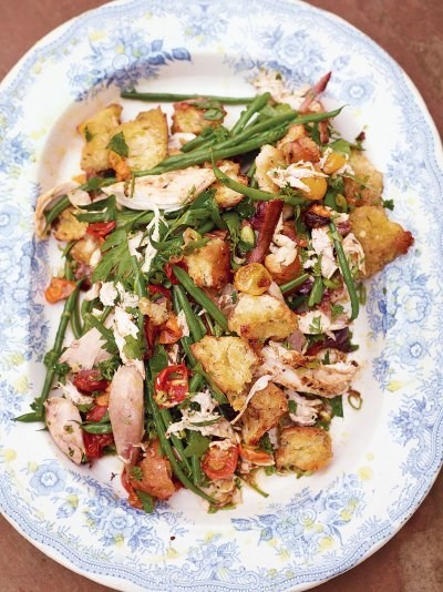 Epic roast chicken salad, golden croutons, green beans, sweet tomatoes