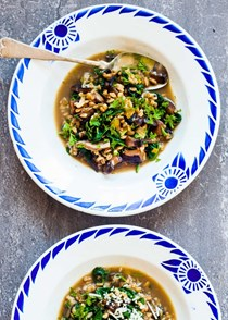 Farro, mushroom, and spinach soup