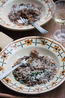 Farro risotto (farrotto) with radicchio and bacon