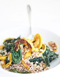 Farro with roasted delicata squash, kale, and sherry vinegar