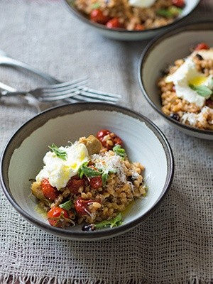 Farro with slow-roasted tomatoes, artichokes, olives ...