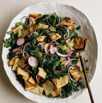Fattoush with radish greens, radishes, green grapes and purslane