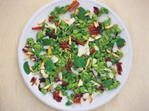 Fava bean and crispy pancetta salad with a pea, Pecorino and mint dressing