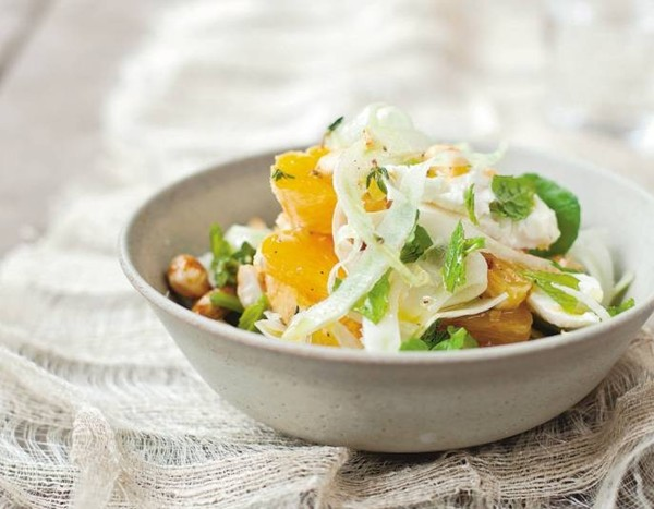 Feta and orange salad with honeyed almonds