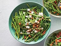 Feta-and-walnut blistered green beans